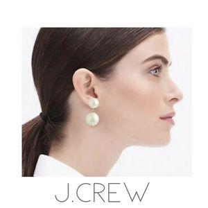 NWT J. Crew large double pearl dangle earrings bag